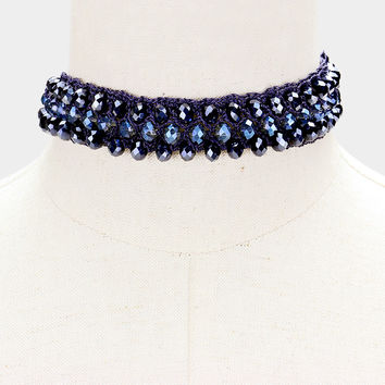 "12"" crochet beaded choker collar necklace 1"" wide"