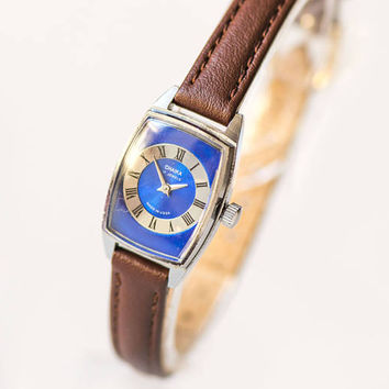 Vintage navy silver women watch Seagull 80s fashion Soviet lady watch summer watch rectangular rare design watch small new leather strap