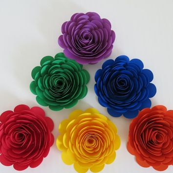 "Bright Rainbow Roses, Set of 6, 3"" Paper Flowers, Popular Trend, Event and Wedding Planning Decorations, Table Centerpiece Runner Scatter"