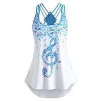 2018 Summer Sexy Ladies' Bandages Sleeveless Vest Top Musical Notes Print Strappy Tank Tops  Cami Female Vest Ladies Clothing