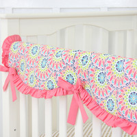 Sorbet Baby Bedding   Pink and Coral Crib Rail Cover