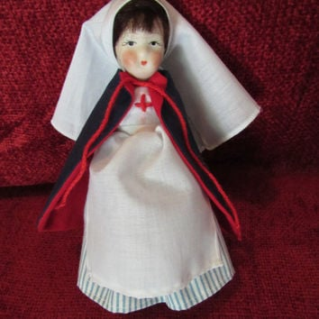 Vintage Porcelain Doll Nurse Collectible Red Cross