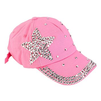 Women Girls Rhinestone crystal Baseball Cap Star Shaped Studded Cotton Hat Pink Snapback novelty flat hip hop caps Darke