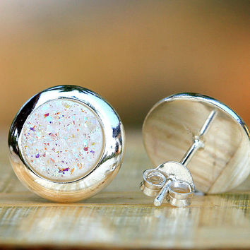 Stud Earrings,Geode Earrings,Druzy Earrings,Drusy Earrings,Stone earring,stone,druzy,quartz,silver,stud,geode,quartz earrings,delicate