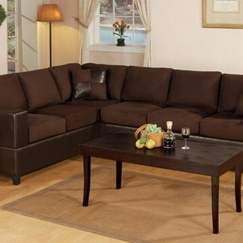 Poundex F7631 2 pc chocolate microfiber two tone reversible sectional sofa with free pillows