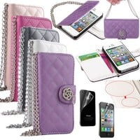iPhone 4S Case, iPhone 4 Case, ULAK Luxury Fashion PU Leather Magnet Wallet Credit Card Holder Flip Case Cover for Apple iPhone 4S / iPhone 4 with Screen Protector