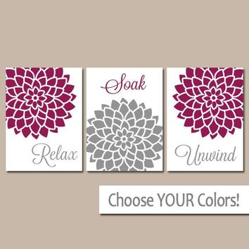 BATHROOM WALL Art, CANVAS or Prints, Gray Maroon Bathroom Pictures, Relax Soak Unwind, Flower Bathroom Quotes, Set of 3 Home Decor Pictures