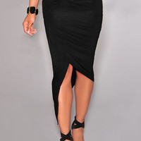 Black Asymmetrical High-Low Hem Bodycon Midi Skirt