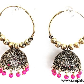 Antique gold Oxidized bali ring style Jhumka