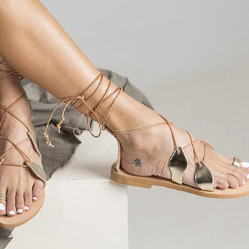 "Delicate gladiator style shoes ""Leilani"" with authentic leather and design. Perfect for your feet on your vacation! Women gladiators style"