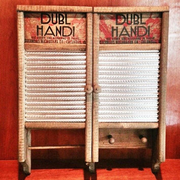 Antique Washboard Cabinet / Dubl Handi Columbus Washboard Company / Repurposed Double Door Laundry Cabinet with Towel Rack