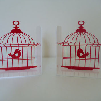 Birdcage bookends choose your own colour by ikandi11 on Etsy