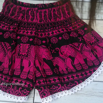 High waisted Lace Short Elephants Unique Boho Print Summer Beach Chic Fashion Trim Tribal Aztec Ethnic Clothing Bohemian Ikat Cloth Hobo