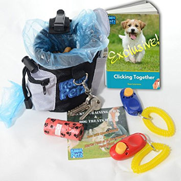 Puppy Training/Dog Training Clicker Kit + FREE bonus clicker training eBook. Treat bag with poop bag dispenser pocket + extra second pocket. Includes spare clicker & 15 eco-friendly dog waste bags