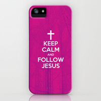 Keep Calm and Follow Jesus (pink) - Bible Lock Screens iPhone Case by Bible Lock Screens | Society6