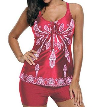 Eternatastic Womens Retro Paisley Printed Tankini Swimsuit with Boyshorts Swim Tank Top