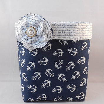Navy and White Anchor Themed Fabric Basket With Nautical Script Lining And Detachable Fabric Flower Pin For Storage Or Gift Giving