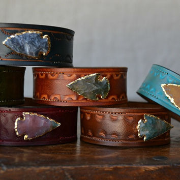 LUX Recycled Leather 24K Gold Agate Arrowhead Gemstone Stacking Cuff