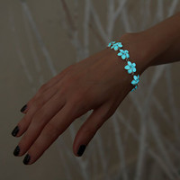 Glow in the Dark Bracelet - Flower with Crystal - Glowing Flowers - Glow Jewelry - Floral Bracelet - Wedding Bracelet - Aqua Flowers