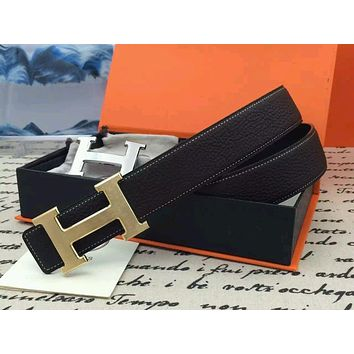 HERMES Men's belt H Logo Buckle Constance Reversible black Belt Leather 110cm