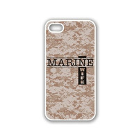Marine Wife 1 Camo iPhone 5 White Case - For iPhone 5/5G White - Designer TPU Case Verizon AT&T Sprint
