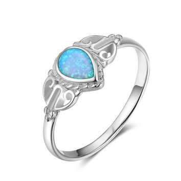 Marcatsa Vintage Silver Magic Stone Moonstone Ring Fire Blue Opal Rings for Women Wedding Jewelry Bijoux Femme Christmas Gift