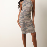 Camouflage Sleeveless Midi Dress | UrbanOG