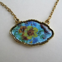 Limoges Style Painted Enamel Floral Choker Necklace Blue Yellow Vintage Jewelry