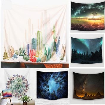 Cactus Flower Art  Galaxy Trees Wall Art Decor Tapestry