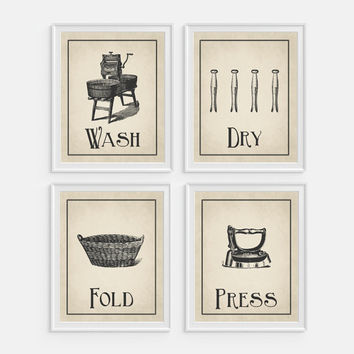 Laundry Room Wall Art Print 'Wash Dry Fold Press' Set of 4 - 5x7, 8x10, 11x14 Laundry Room Decor, Laundry Wall Art, Iron, Clothespins