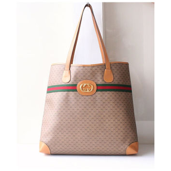 Gucci Bag, Big Logo Vintage Red Green Monogram Shoulder Large Handbag Authentic Purse