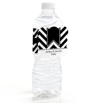 Chevron Black and White - Personalized Everyday Party Water Bottle Label Favors