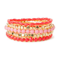 Pink and Coral Shiny Stone with Metallic Gold Beads Stretch Bracelets Set of 5
