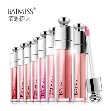 VONE2B5 BAIMISS Waterproof Lip Glaze Balm Liquid Tint Color Lasting Protection Lipstick Makeup Cosmetics Beauty Essentials 8 Color