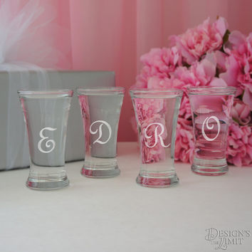 The Curve - Bridal Party Personalized Shot Glass with Monogram Choice and Font Selection (2.5 oz. Engraved Shot Glass)