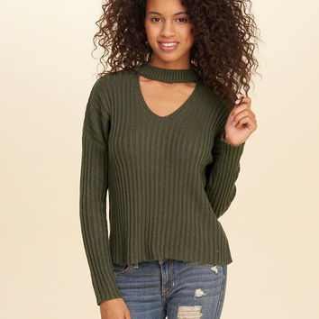 Girls Ribbed Choker Sweater | Girls Tops | HollisterCo.com