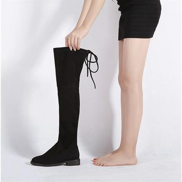 11 11 Promotion Women Stretch Suede Over the Knee Boots Flat Thigh High Boots Sexy Fas