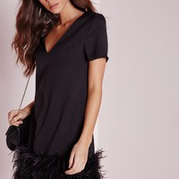 Missguided - Petite Feather Trim Shift Dress Black