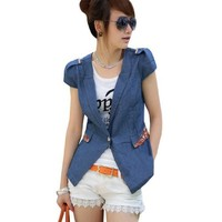 Women Peaked Lapel Collar Cap Sleeve Denim Mock Pocket Coat Blue M