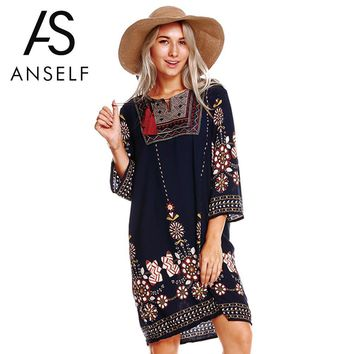 Anself Women Boho Tunic Dress Ethnic Embroidered Front Vintage Floral Print Summer Dress Tassels 3/4 Sleeves Beach Loose Dress