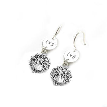 Peacock Initial Hand Stamped Earrings, Bird Jewelry, Sterling silver or Silver Plated