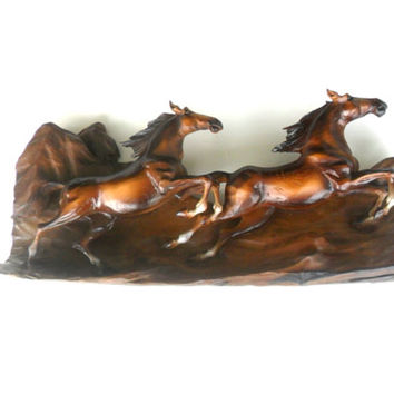 "Wood Carving Two Wild Horses Rustic Driftwood Hand Carved Natural Teak Wood Horse Wall Hanging Art Home Decor / Gift 26""x13""x6.5"