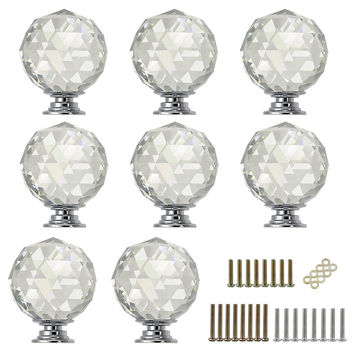 Sumnacon 8 Pcs 40MM Clear Crystal Glass Door Knobs - Round Diamond Wardrobe Doorknob/ Crystal Glass Drawer Knobs / Cabinet Cupboard Handle Pull Knobs / Door Pull Handle with Screws with 3 Kinds Screws