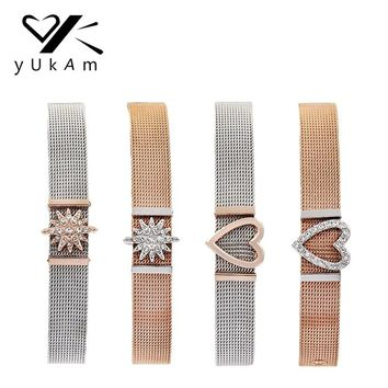YUKAM Jewelry Keeper Keys Rose Gold Crystal North Star Heart Slide Charms Stainless Steel Mesh Keeper Bracelets for Women Gifts