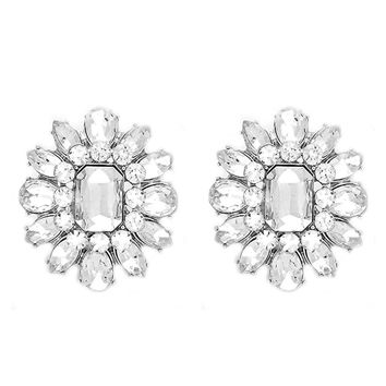 DOUBLE VINTAGE Large Clear Crystal Blossom Cocktail Stud Clip On Earrings