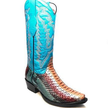 Los Altos Women's Multi Color Python Snip Toe Cowboy Boots
