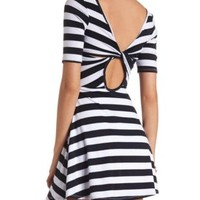 Back Cut-Out Striped Skater Dress by Charlotte Russe - Navy Combo