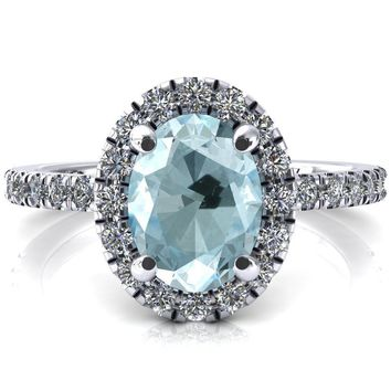 Talia Oval Aqua Blue Spinel 4 Prong Halo 3/4 Micropave Engagement Ring