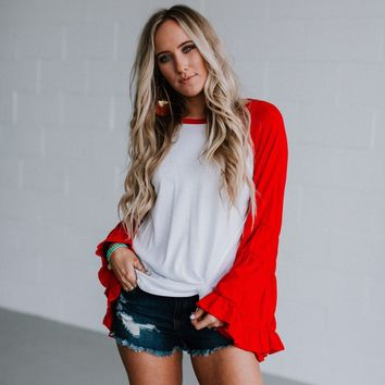 Home Run Ruffle Baseball Tee - Red