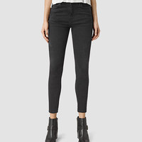ALLSAINTS US: Womens Nim Highwaisted Crop Jeans (Washed Black)